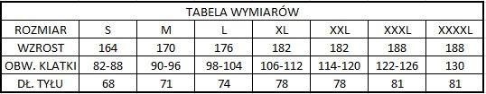 Tabela wymiarów dla kamizelek